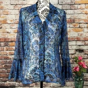 Shimmering Blue & Black Flared Sleeve Blouse
